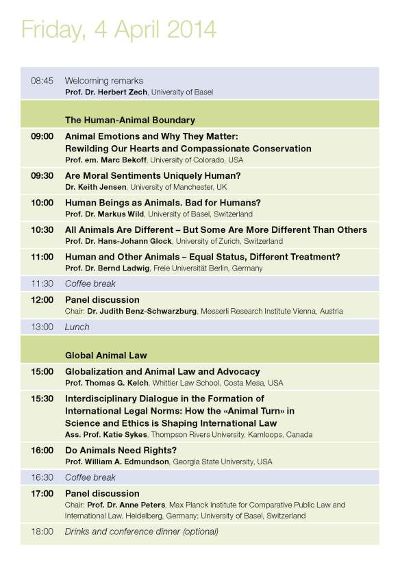 Friday Programme Animal Turn Conference