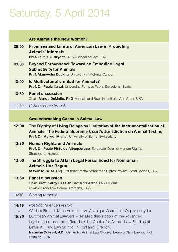 Saturday Programme Animal Turn Conference